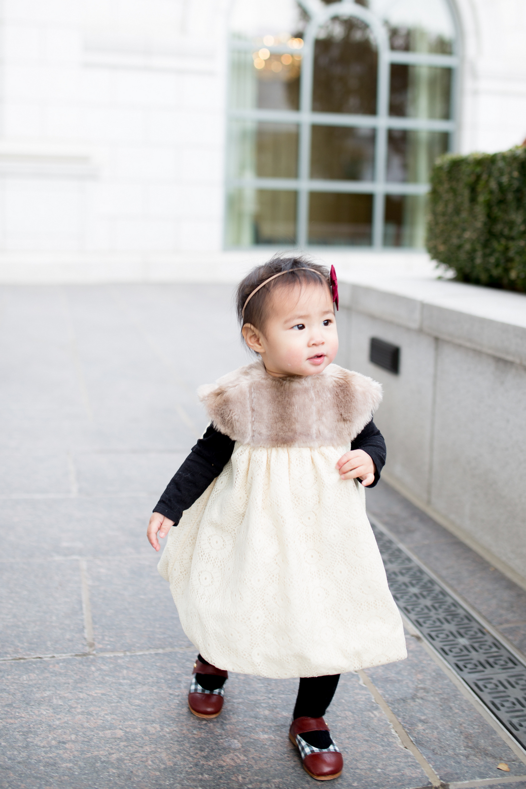 Duchess and Lion fur dress on baby girl