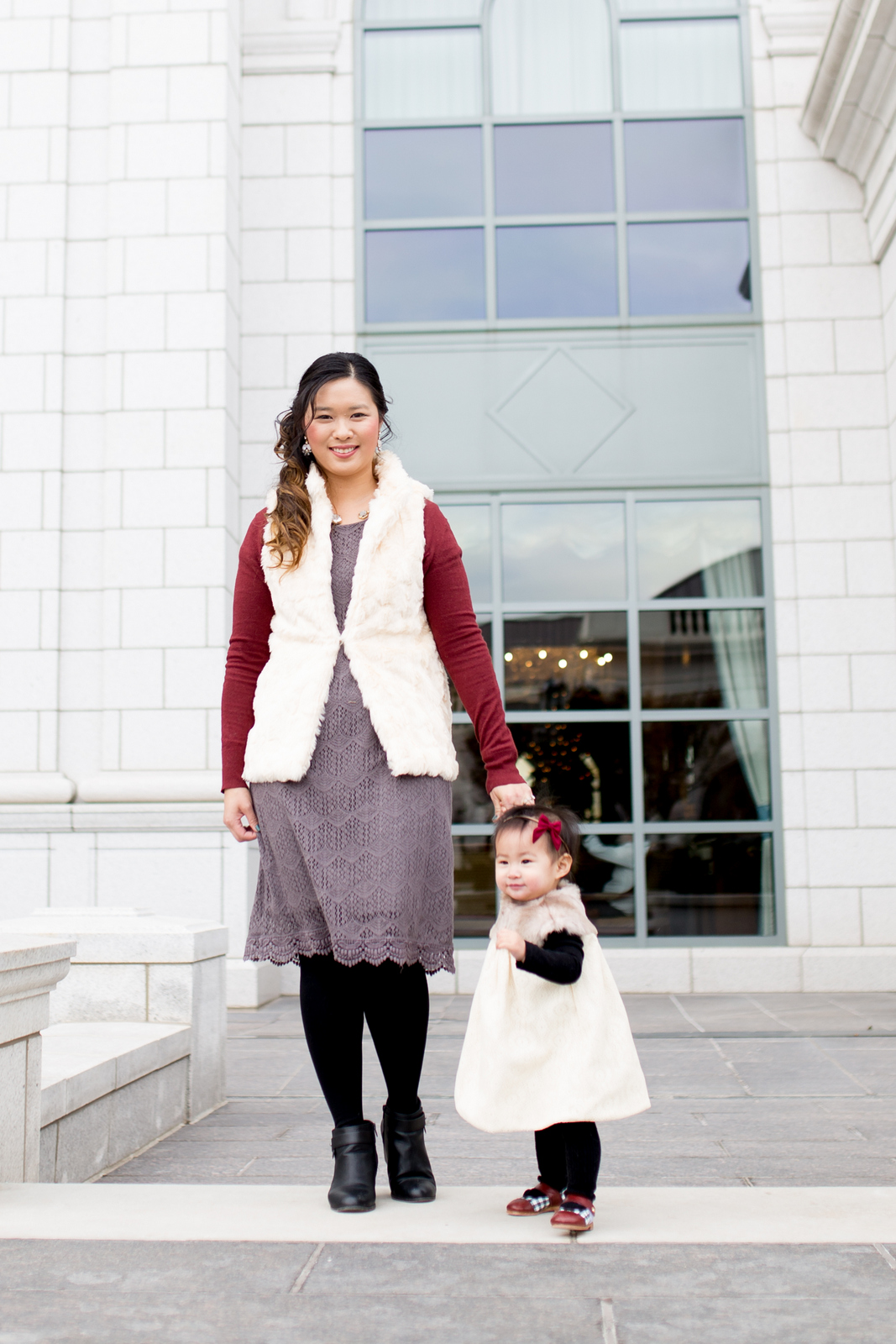 Neutral and burgundy mommy and me holiday style