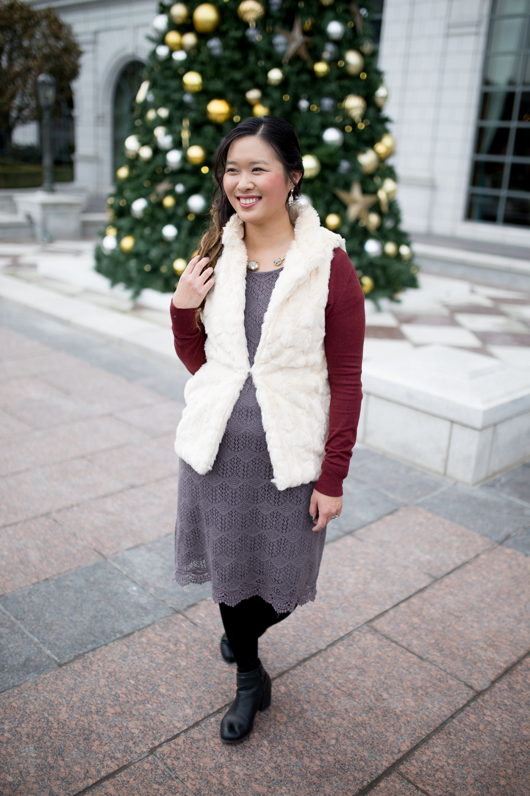 Fur vest over dress holiday style