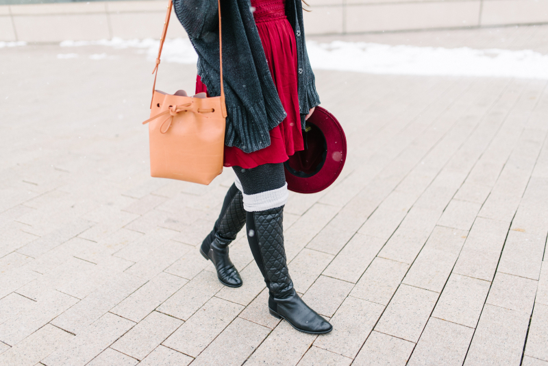 Maroon and black winter outfit