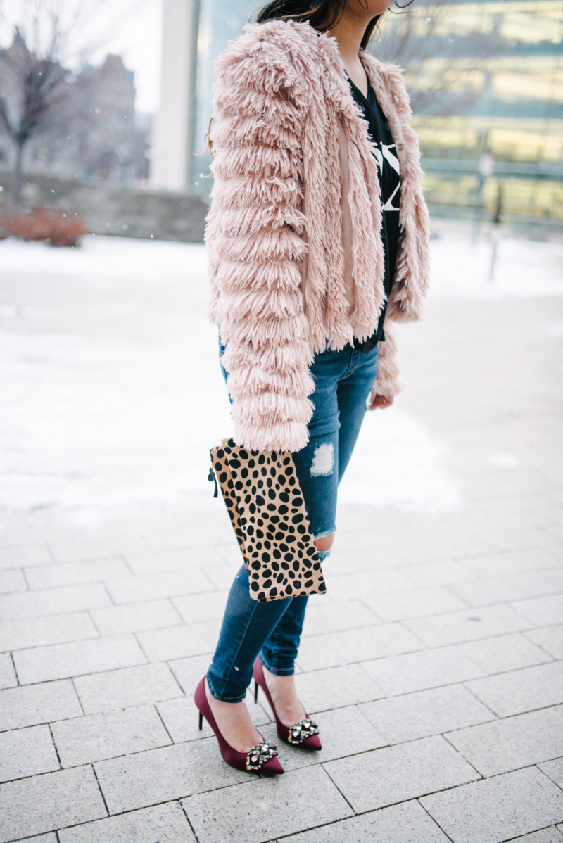 Nordstrom pink fringe jacket