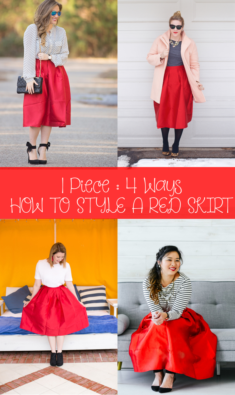 how to style a red midi skirt