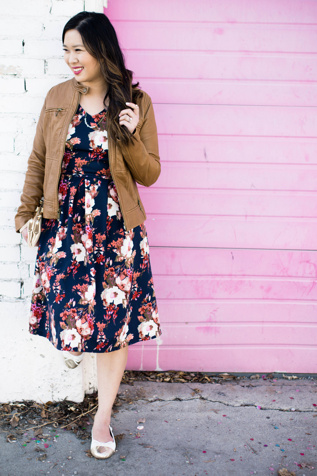 Florals and tan jacket