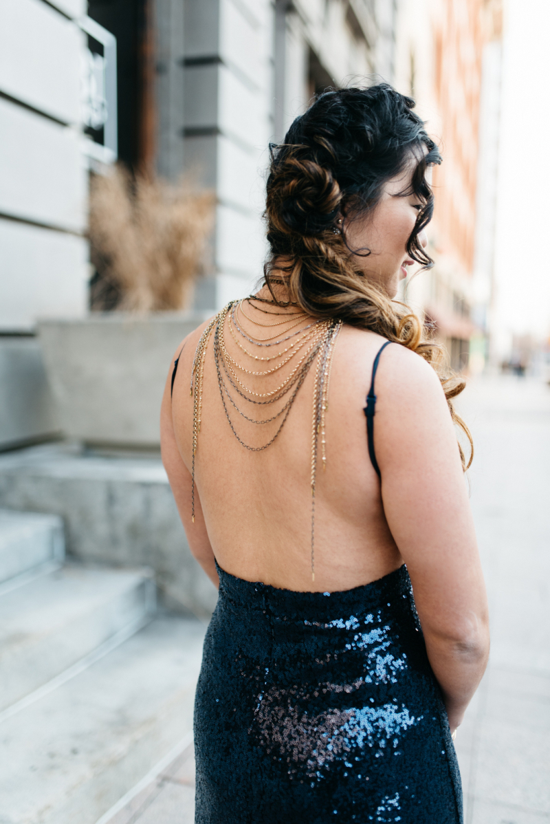 Backless sequin evening dress