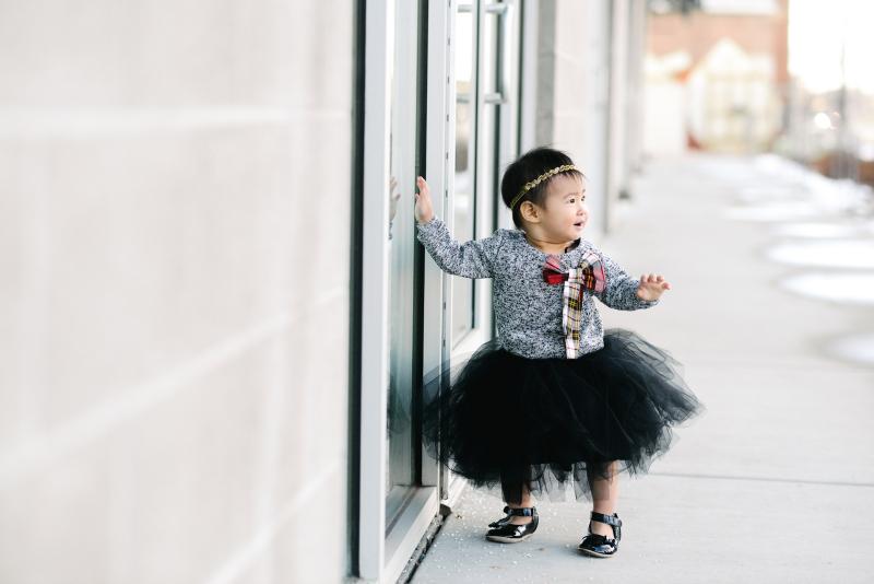 Baby girl wearing tutu