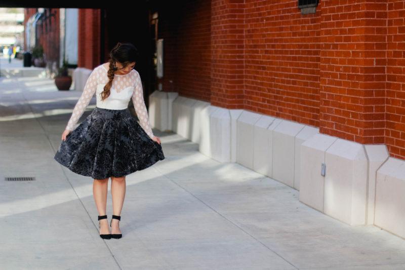 Polka dot top and floral skirt