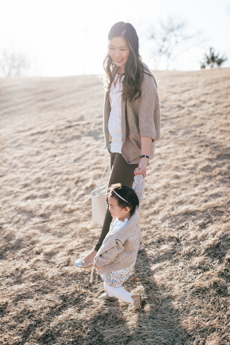 Mommy and me fashion with neutral colors