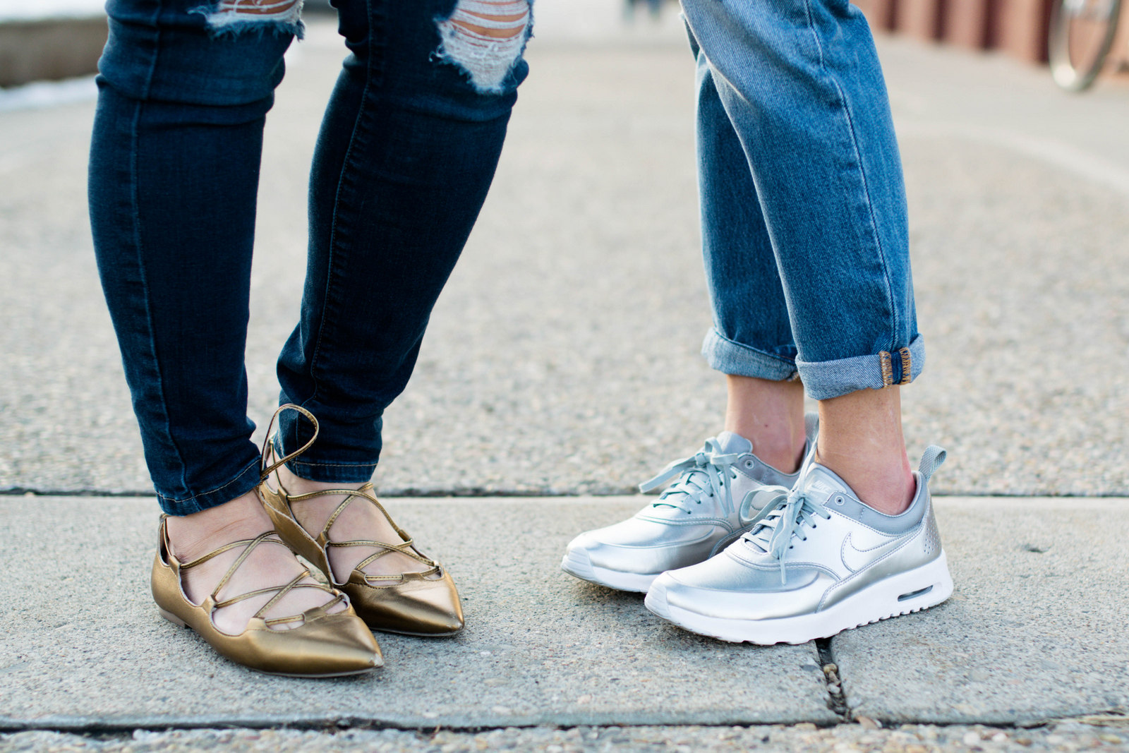 Two ways to wear metallic flats