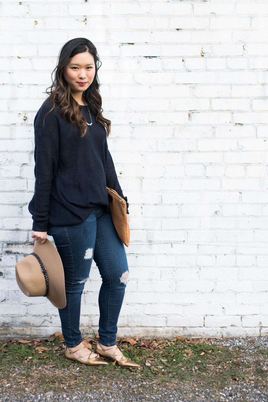 Navy sweater casual style