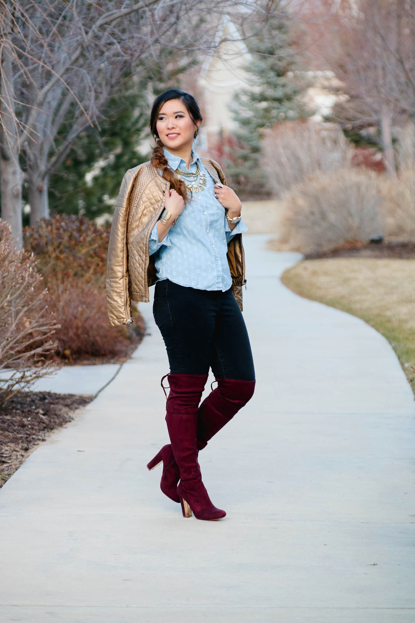 Outfit with knee high boots