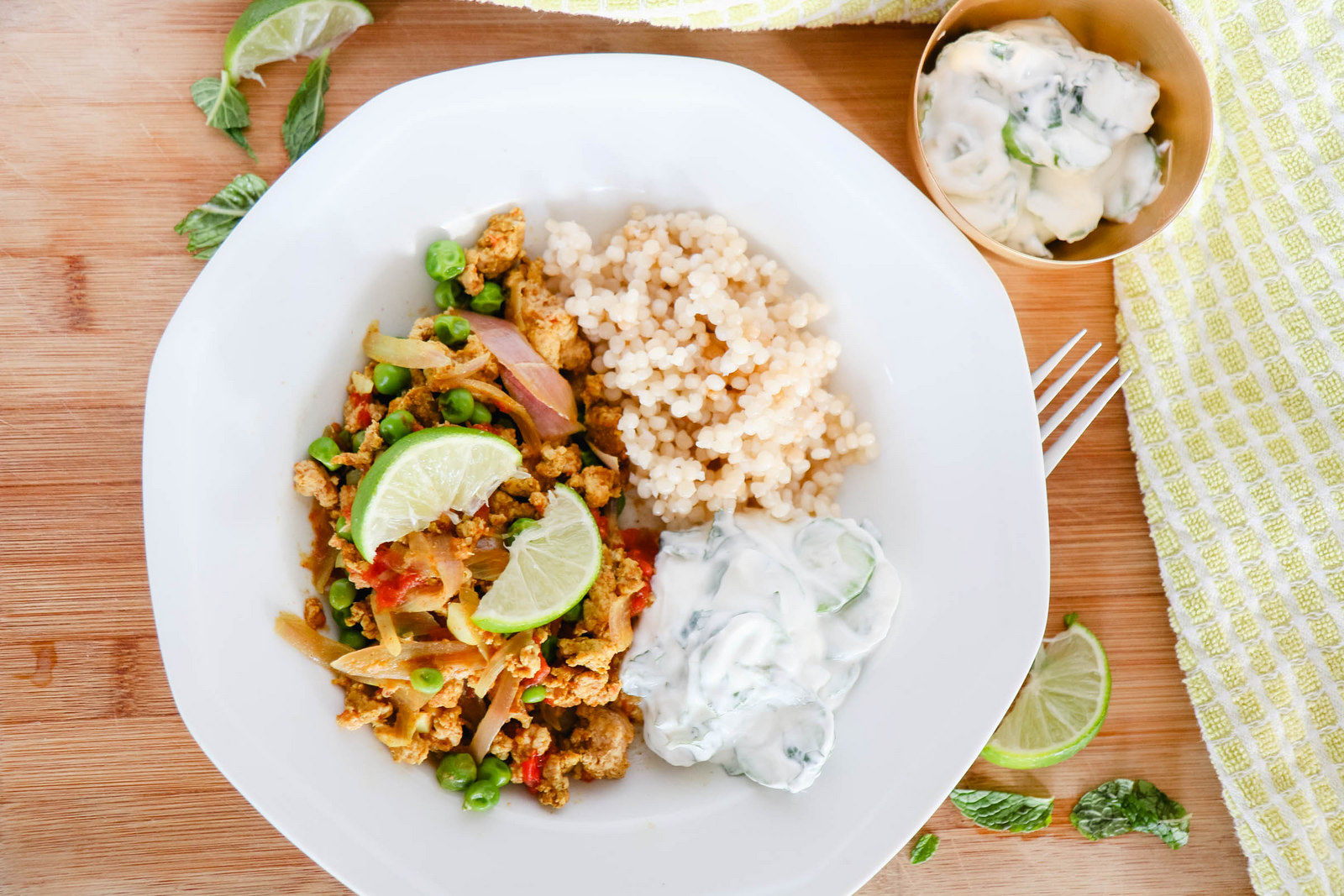 Turkey keema with cucumber raita
