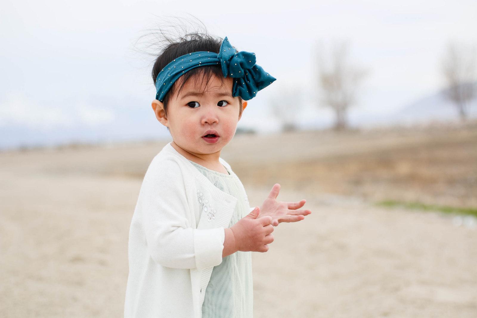 Baby girl at beach
