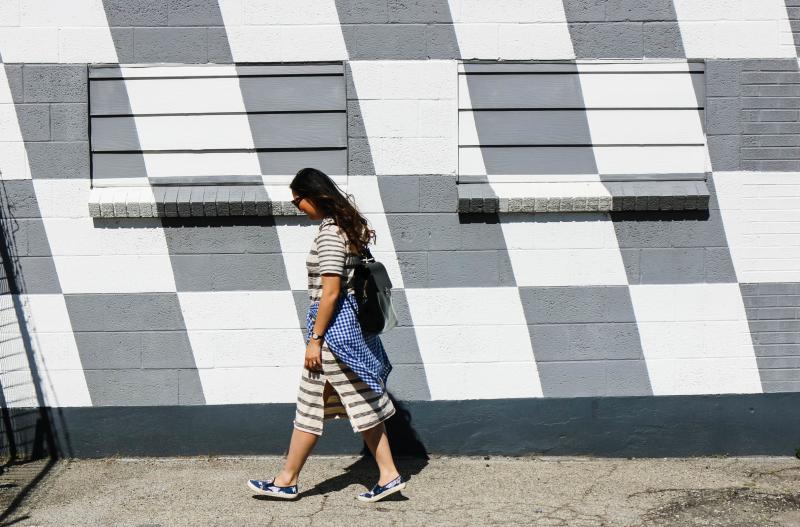 Casual striped midi dress