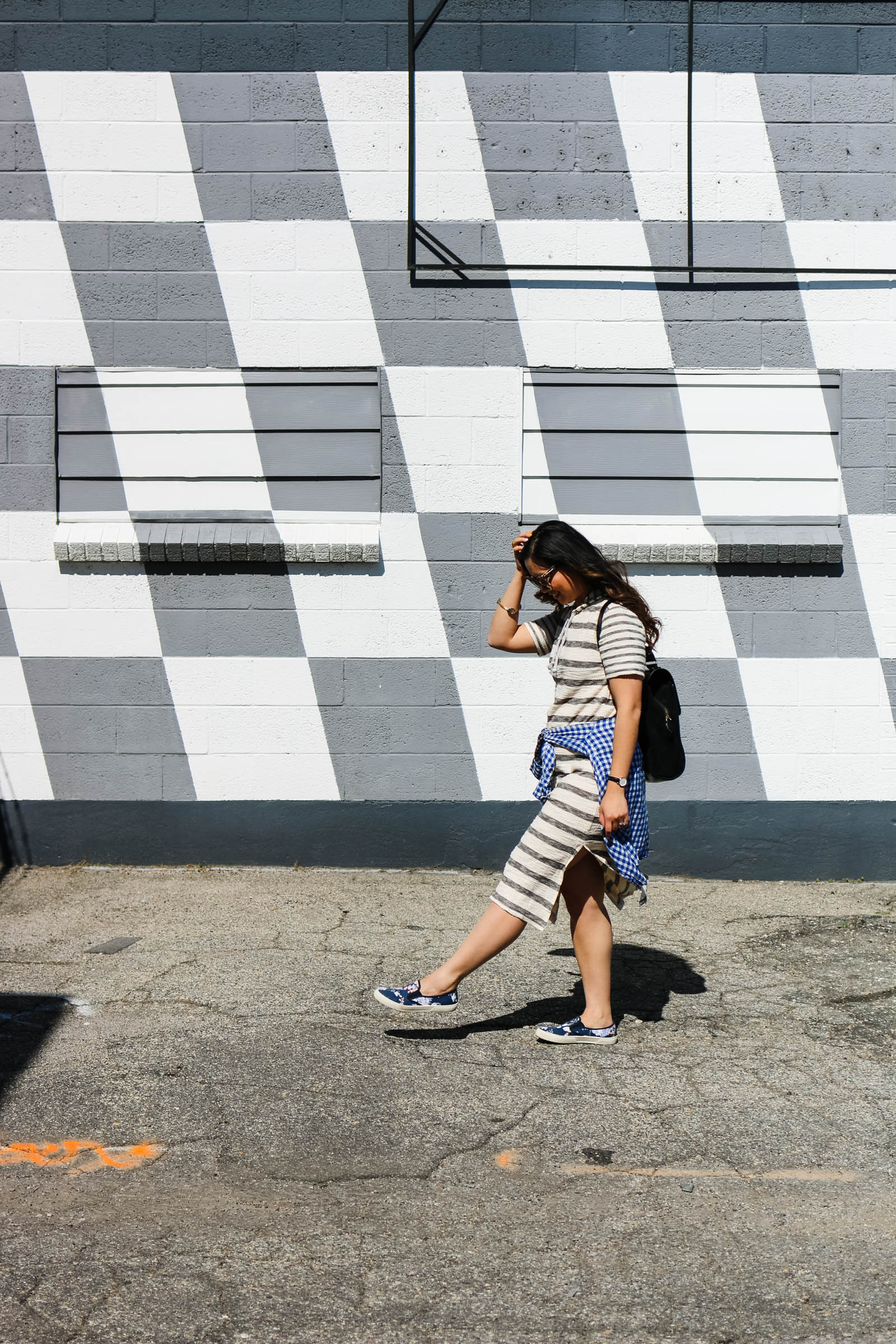 Casual stripes and pattern mixing