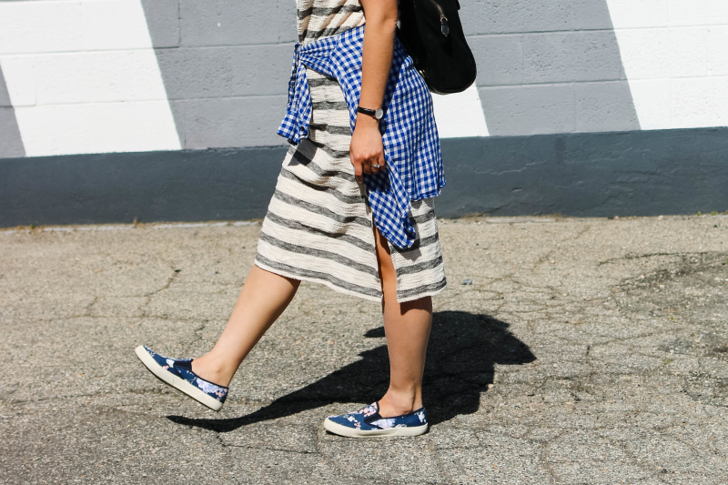 Casual striped midi dress