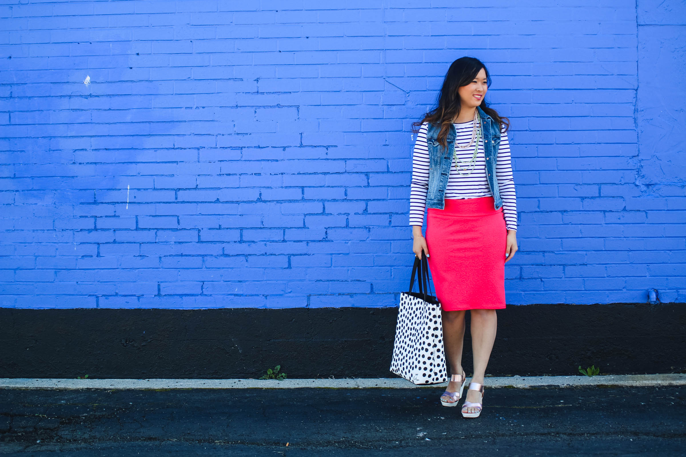 Stripes and polka dots pattern mixing