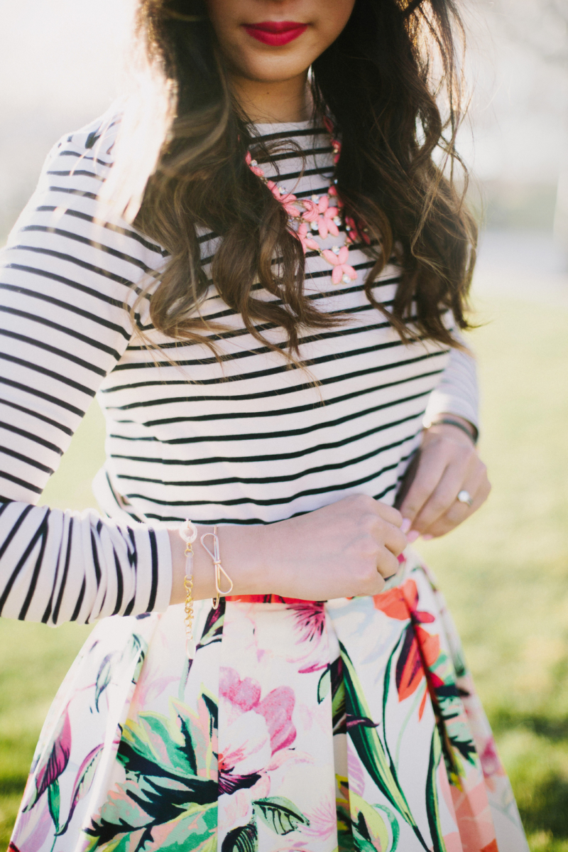 Stripes and florals pattern mixing