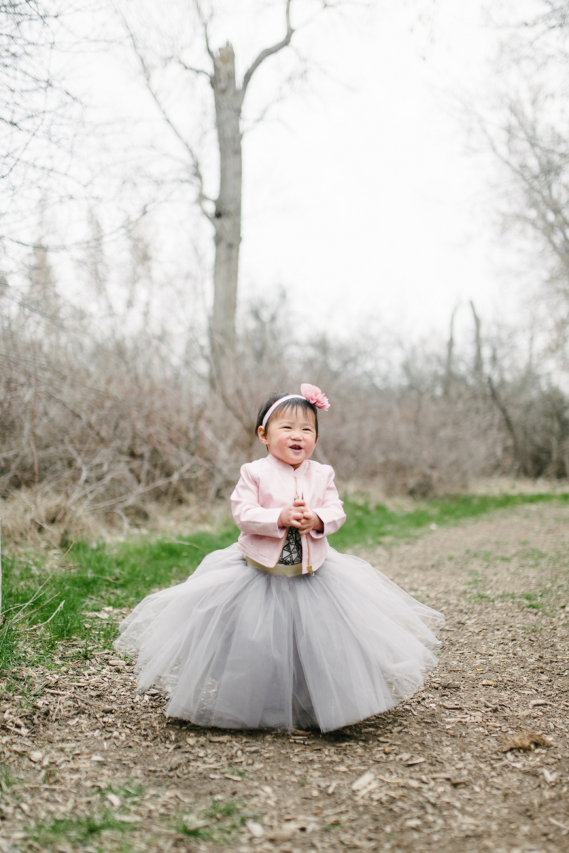 Baby girl in tutu skirt