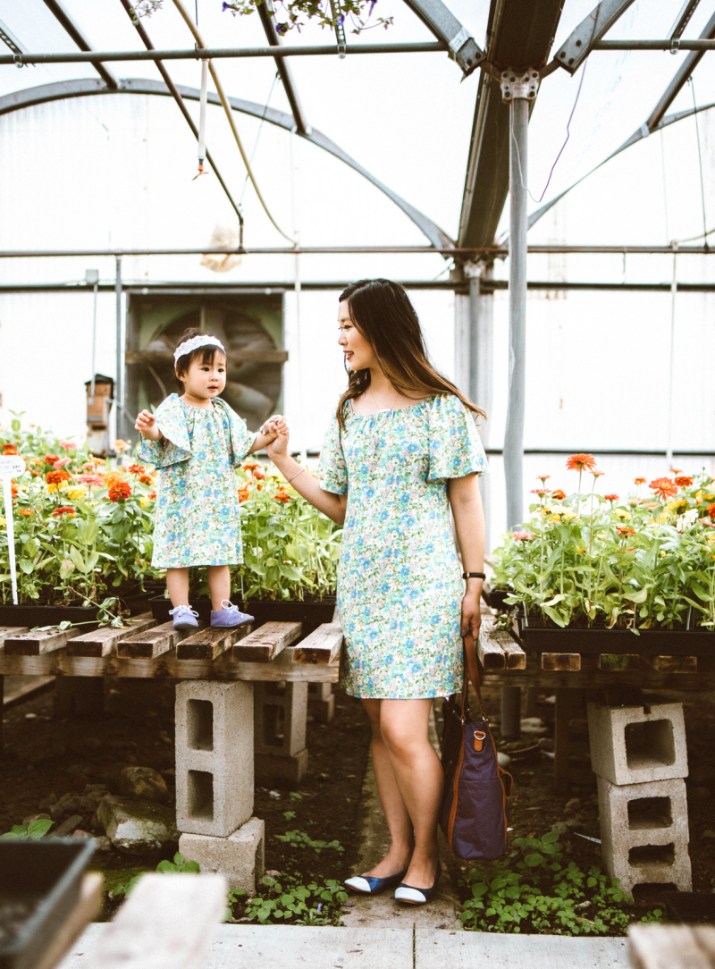 Mommy and me matching floral dresses