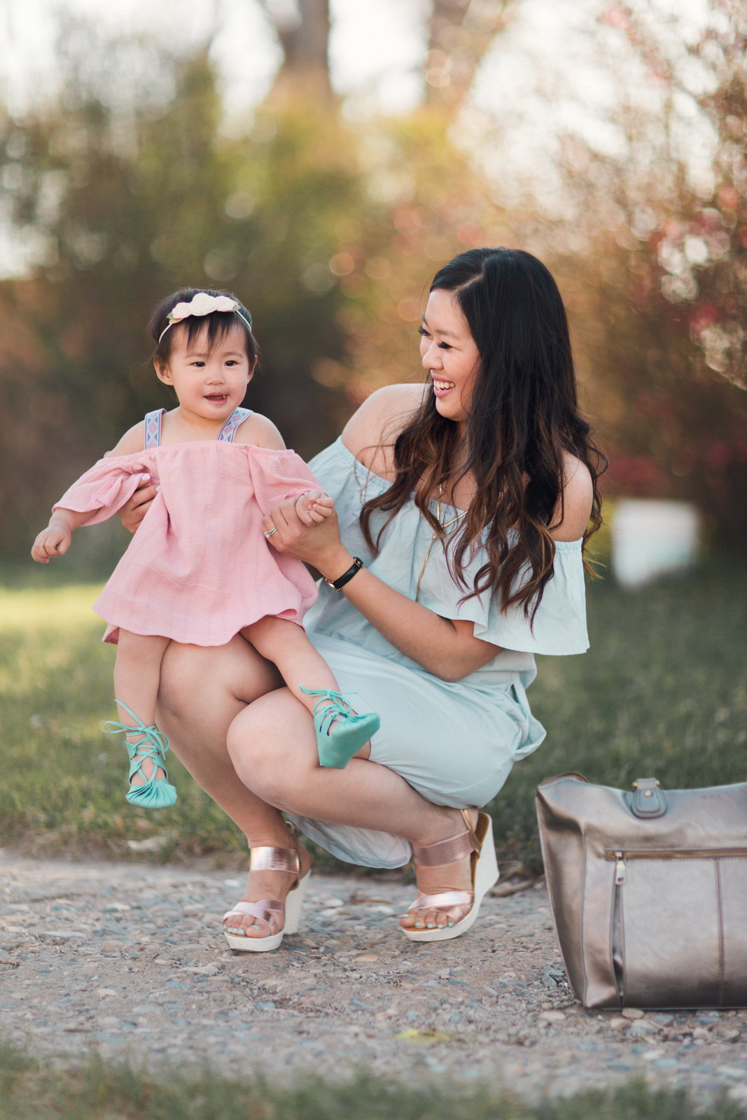 Mommy and me style off the shoulder dresses