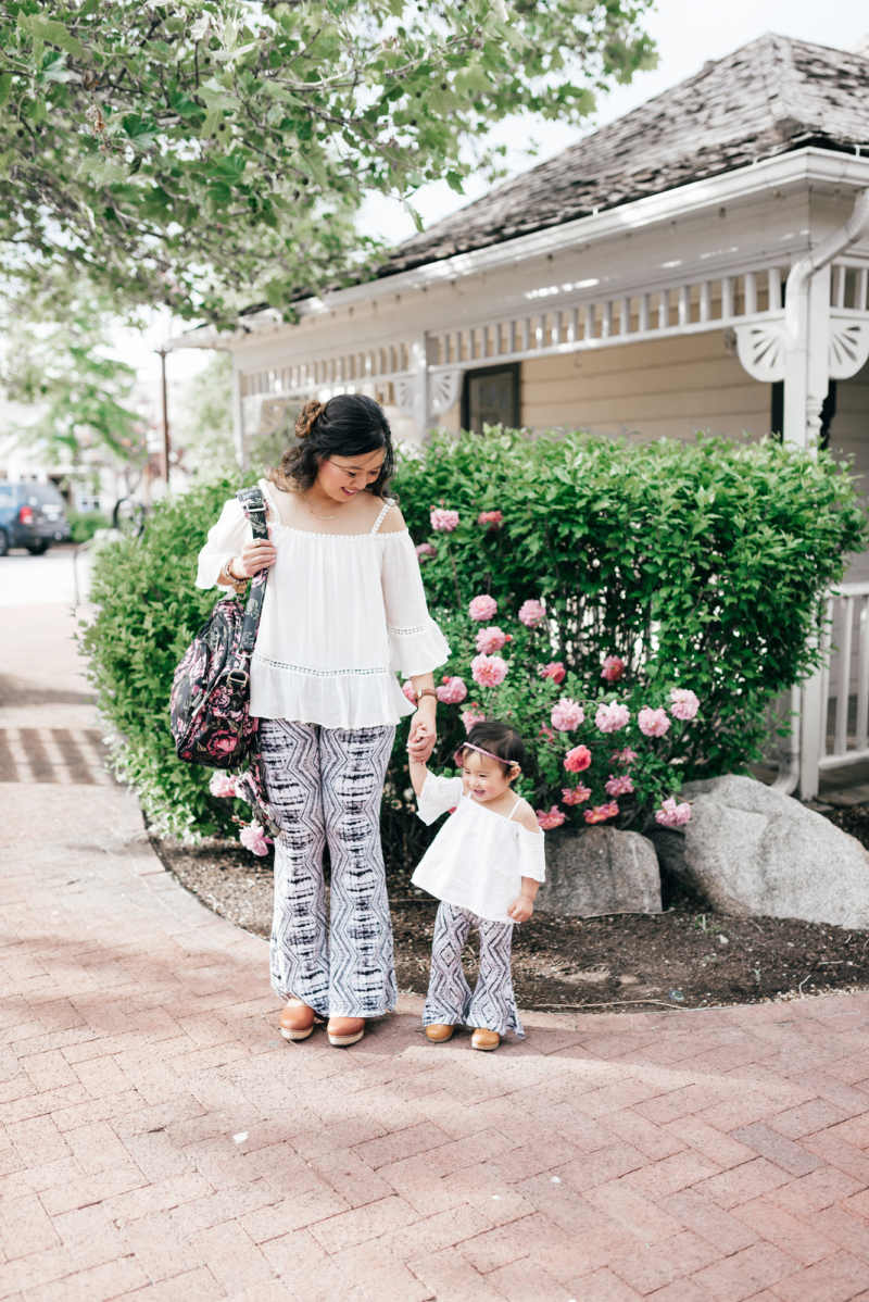 Mommy and Me Style: White Tops and Bell Bottoms