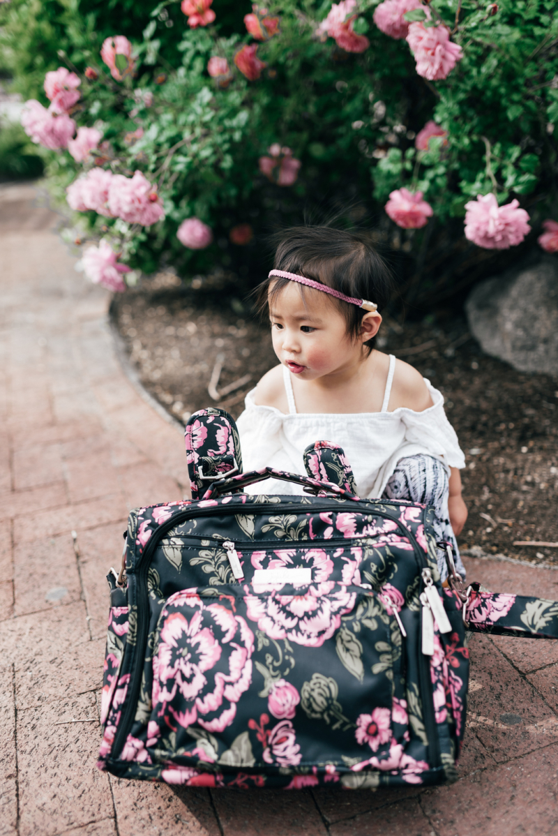 Baby with JujuBe Diaper Bag