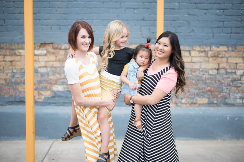 Mommy and me duos wearing stripes