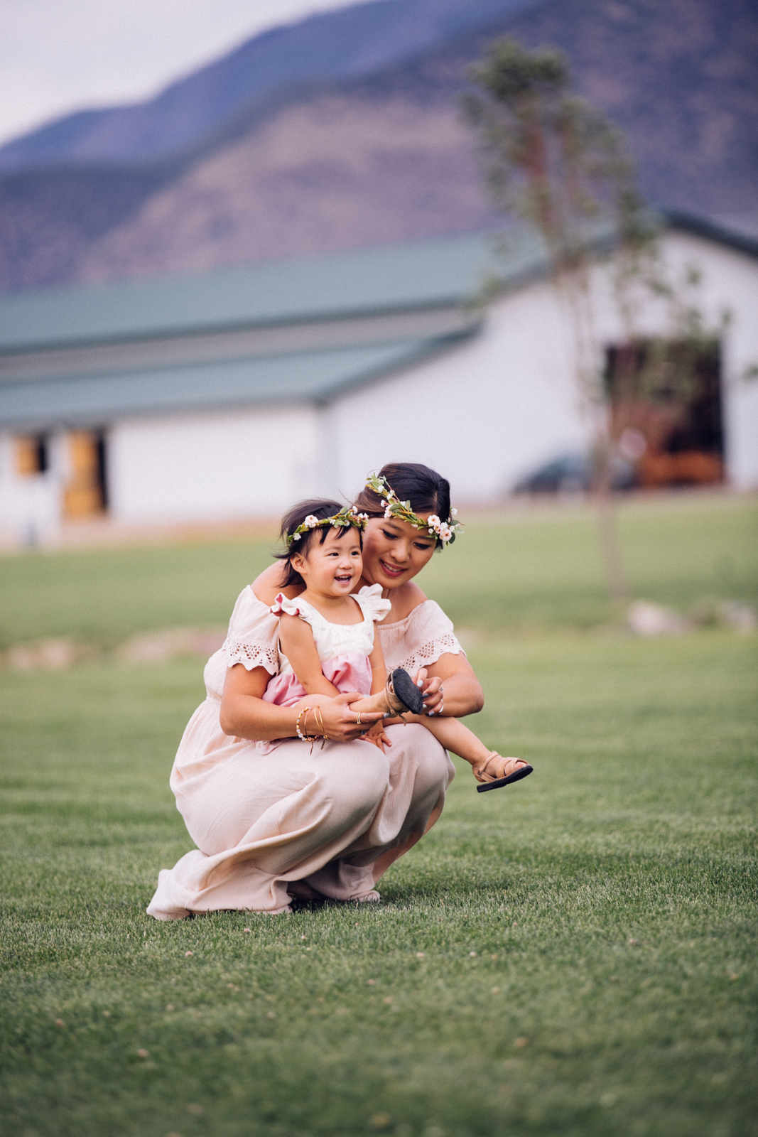 Mommy and Me Outfits: Cream & Pink Dresses by fashion blogger Sandy A La Mode
