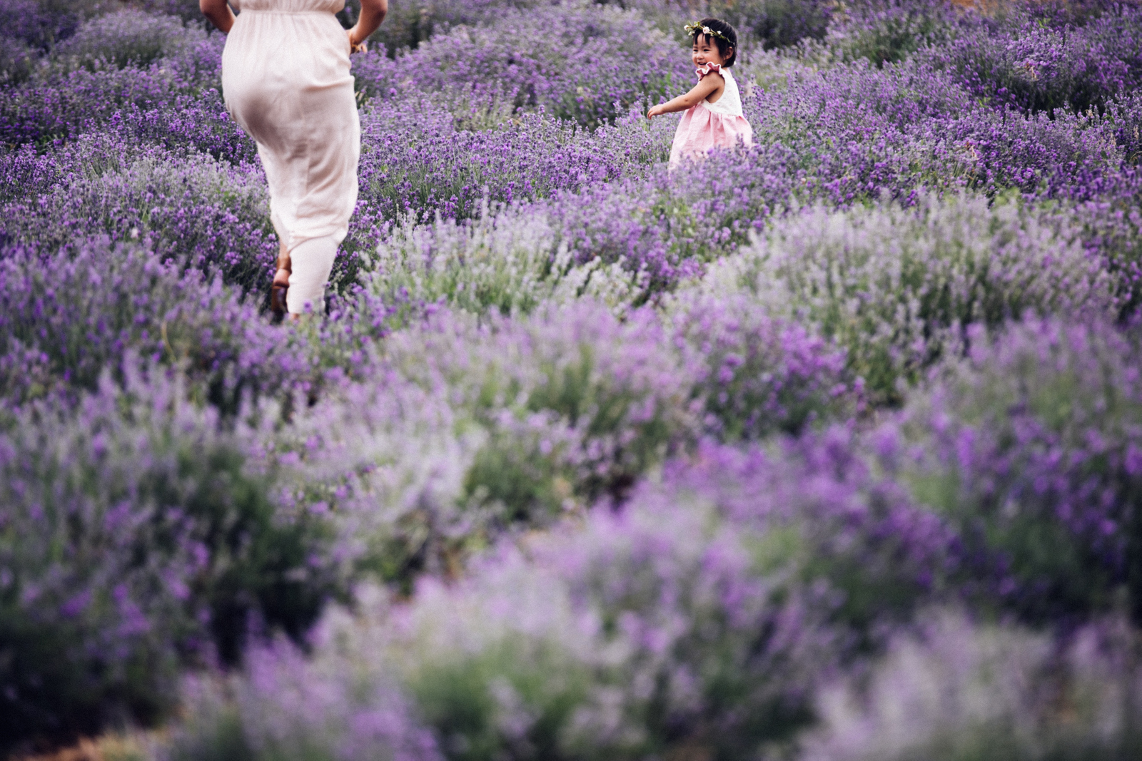 Mom and daughter in Lavender field