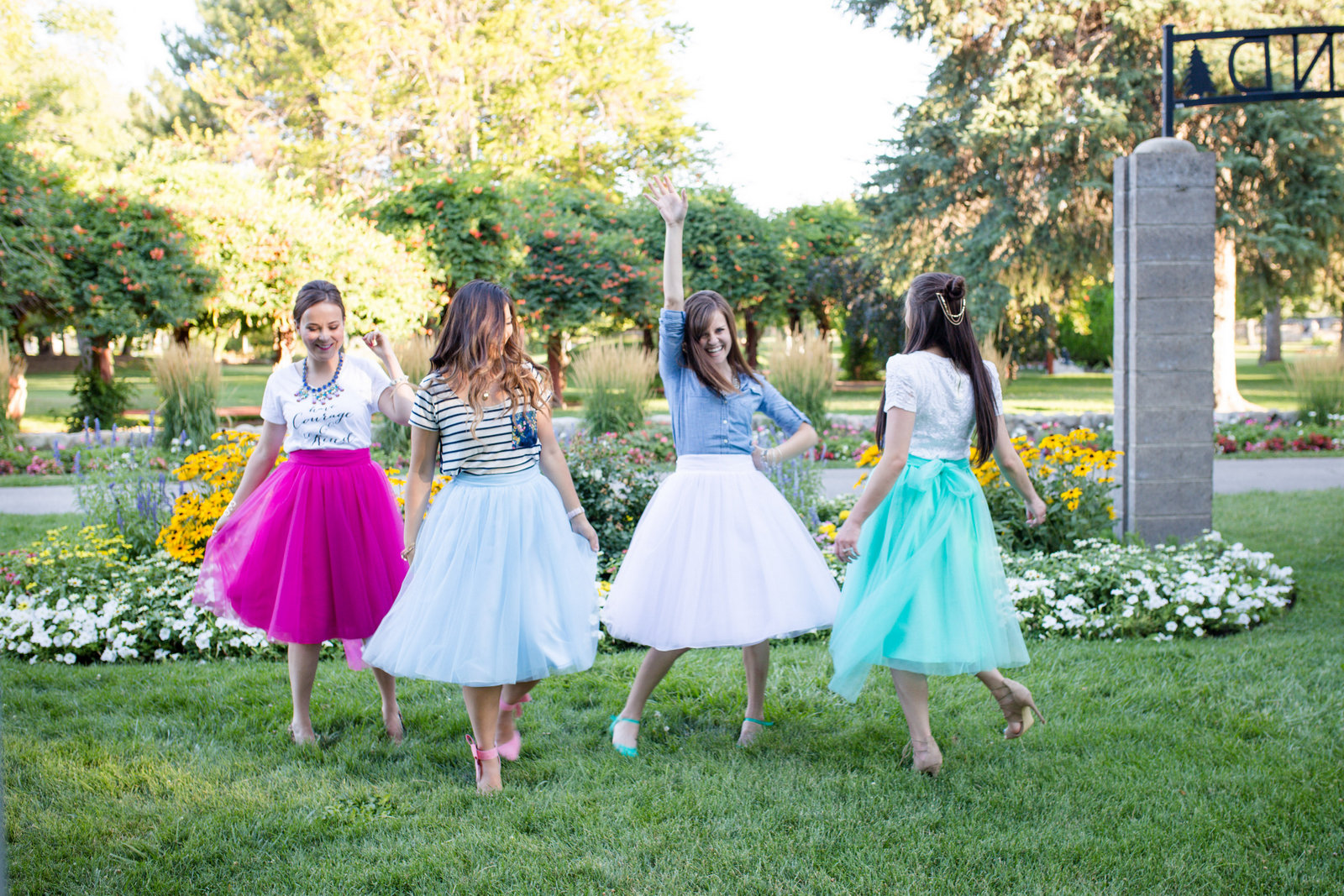Girls dancing in tulle skirts