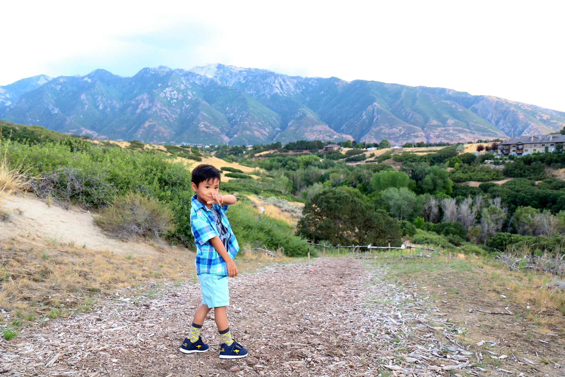 Boy wearing KangaROOS from Payless