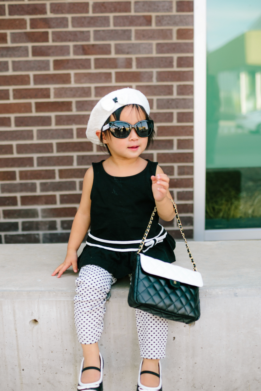 Black and white toddler girl outfit