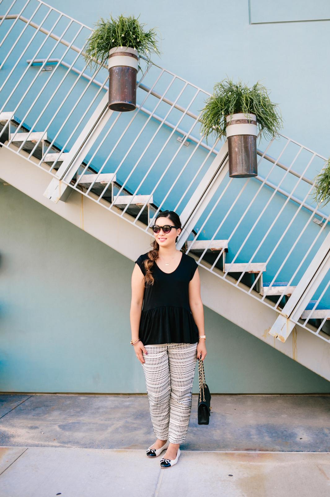 Utah fashion blogger wearing black and white
