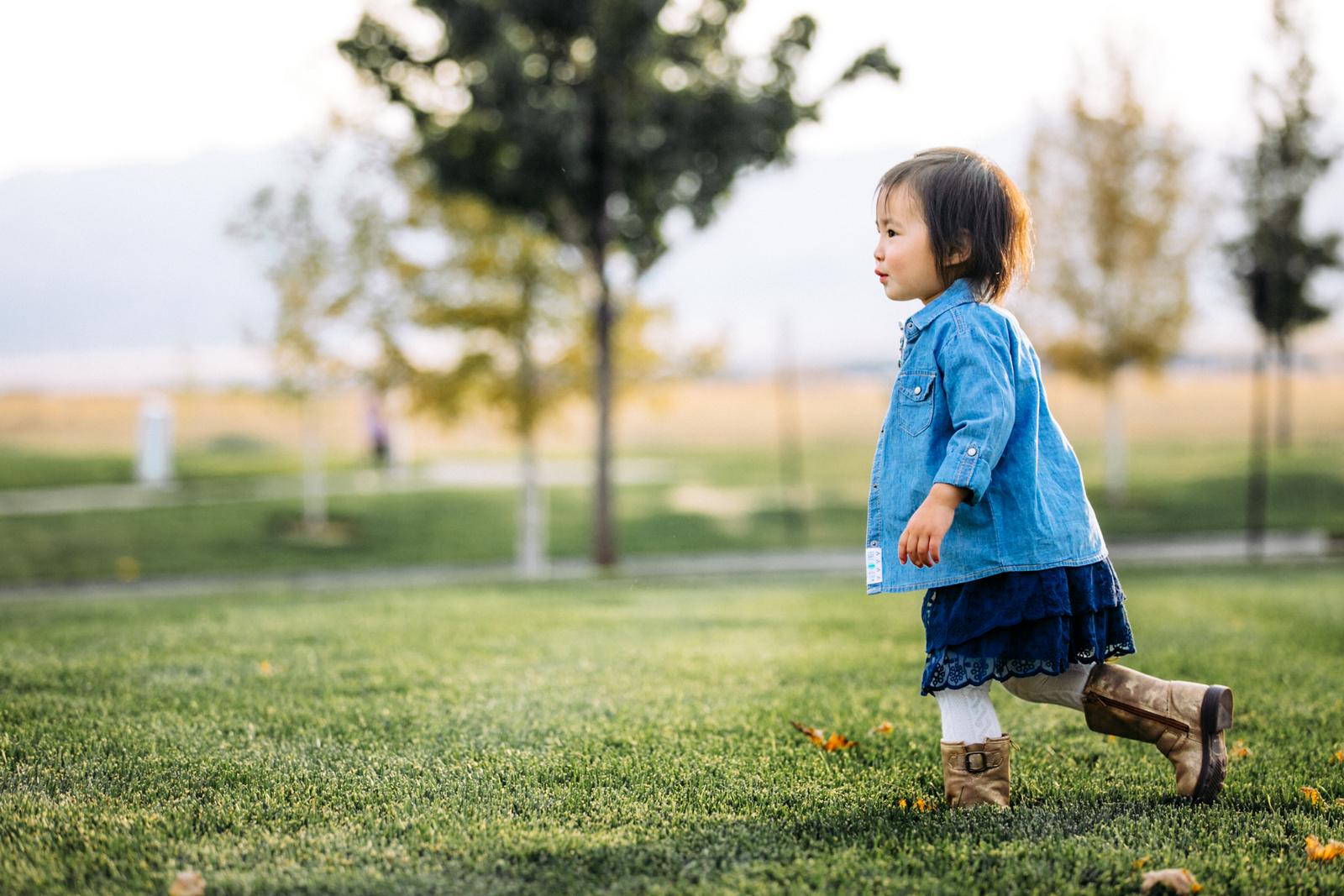 Toddler girl running