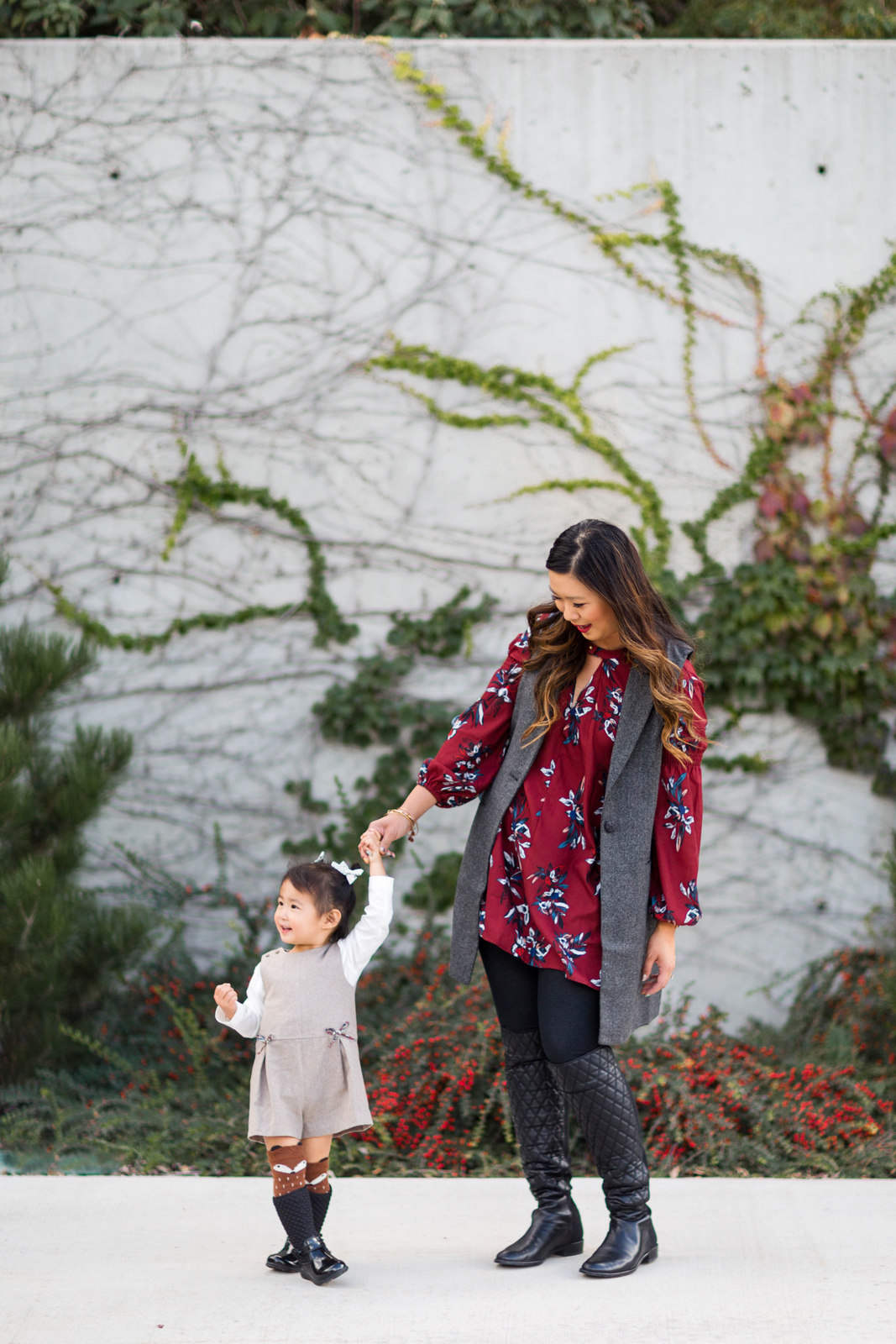 Mommy and me outfits - fall layers & quilted boots