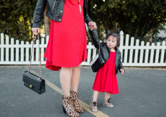 Mommy and Me Outfits: Red, Leather and Leopard Print Outfit + Linkup!