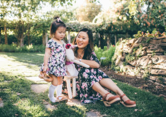 Mommy and Me Style: Black and Pink Floral Dresses + Linkup!