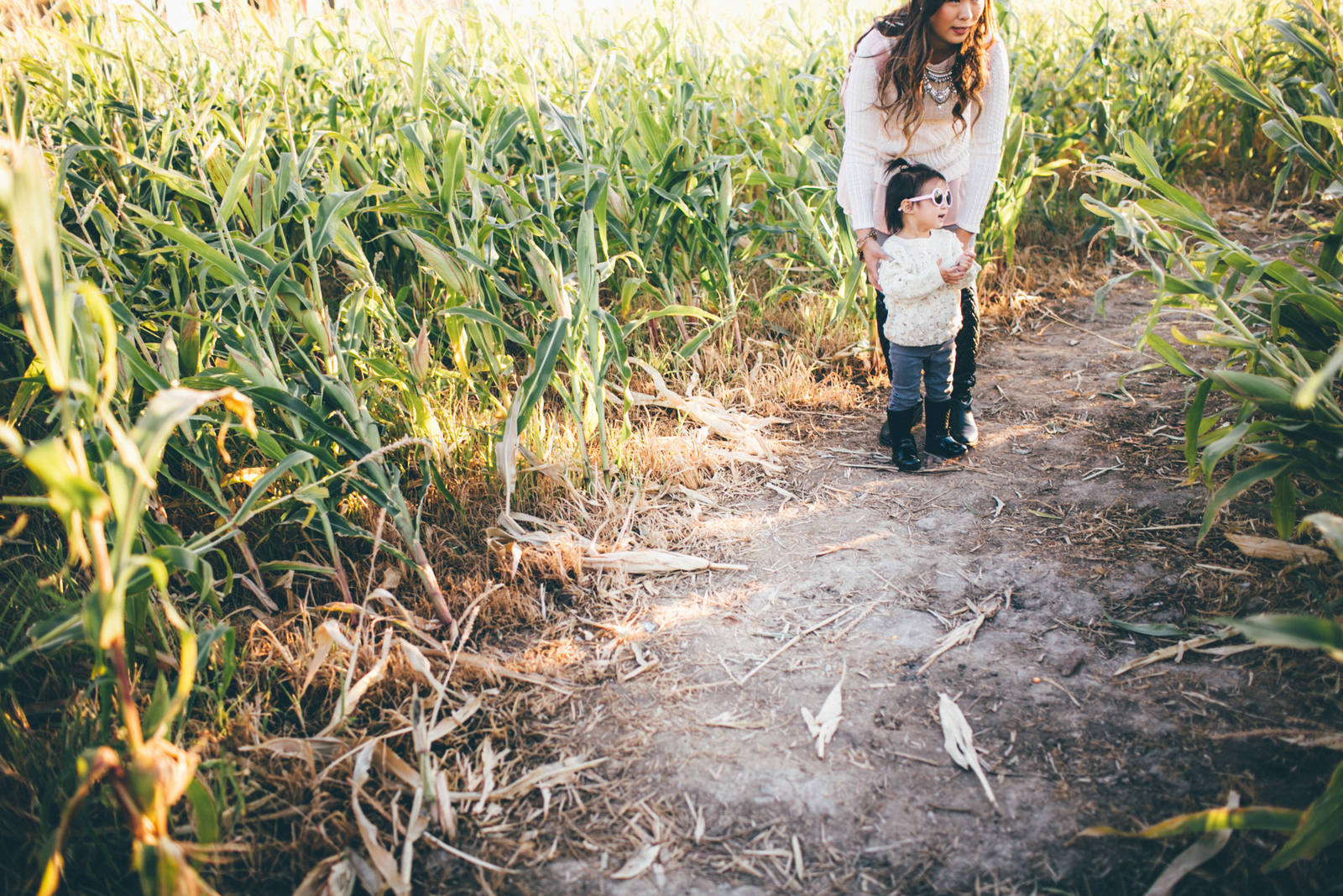 Mommy and Me in corn fields