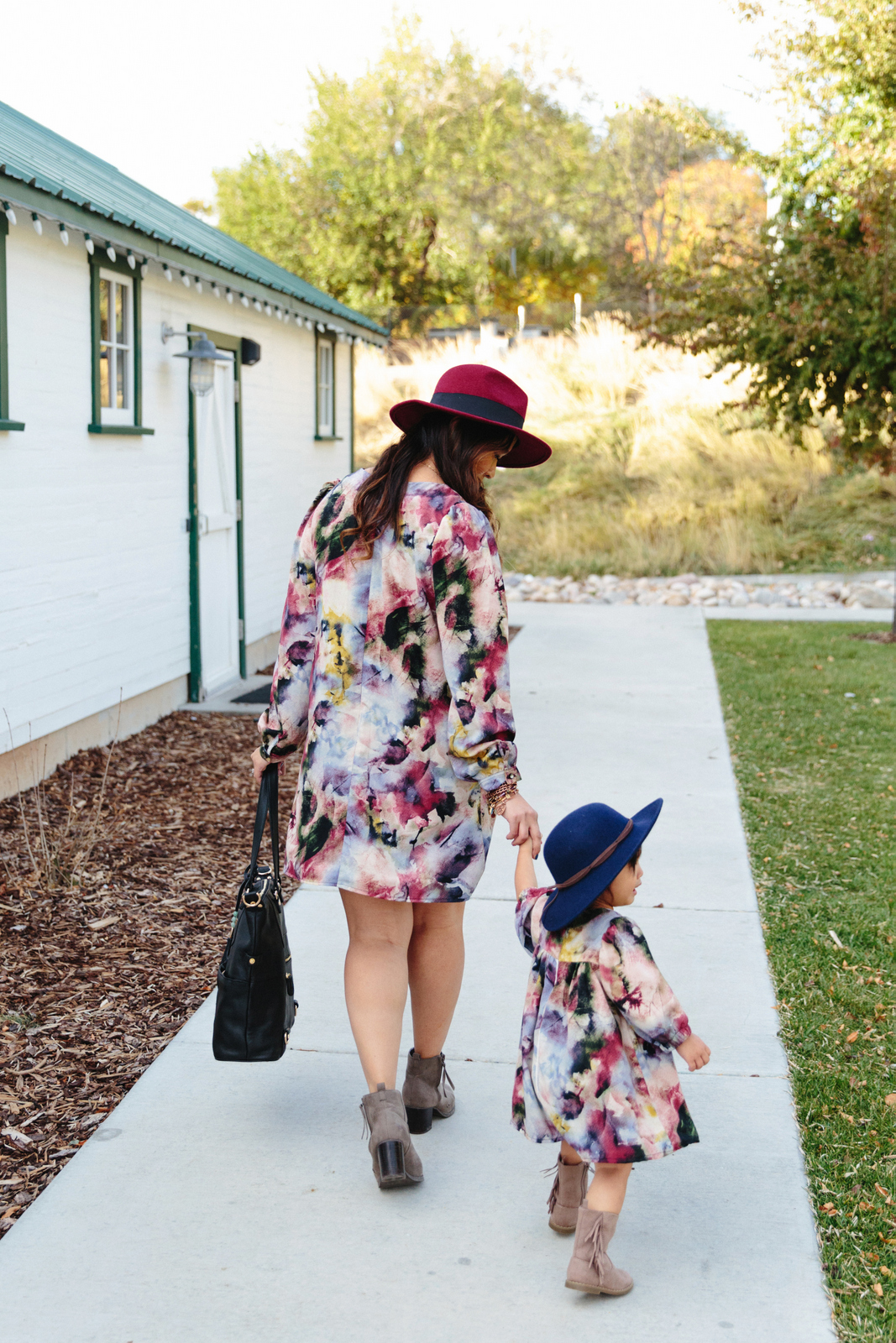 Mommy and Me Outfits: Watercolor Dresses by fashion blogger Sandy A La Mode