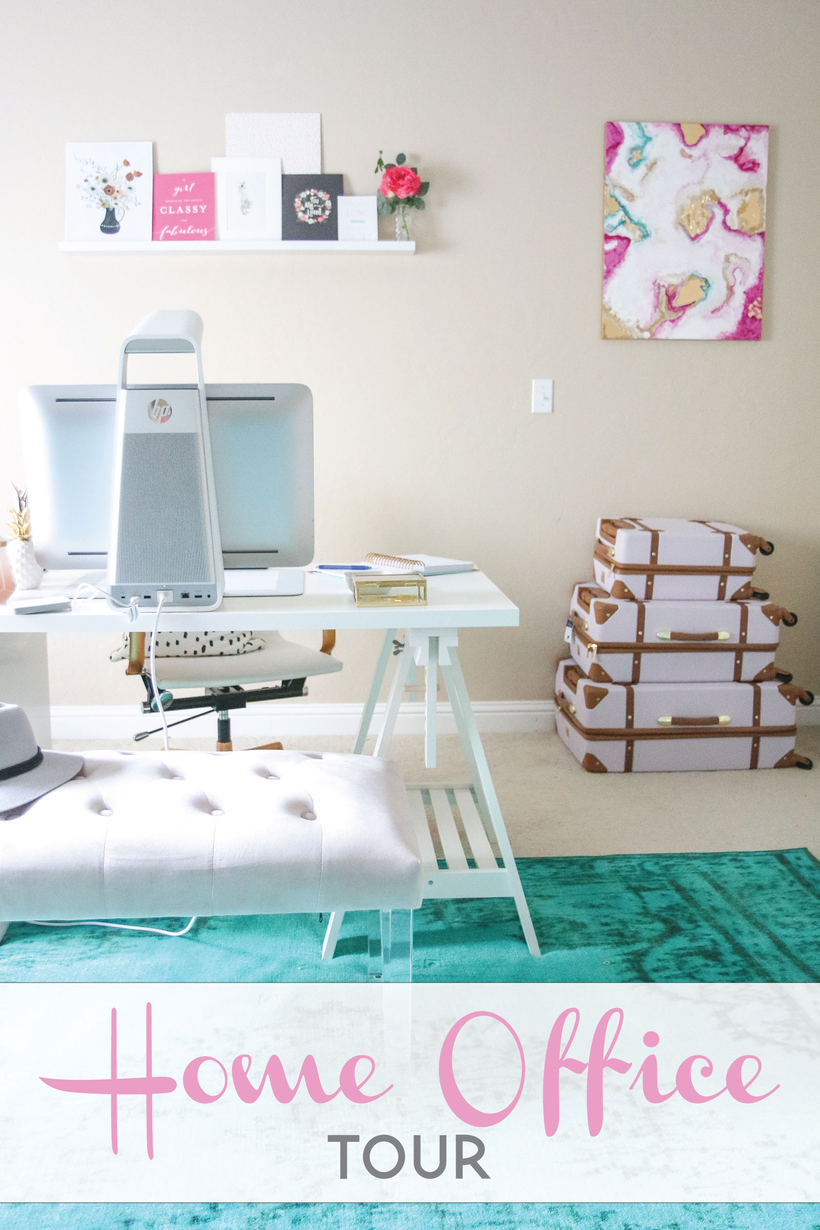 Pink And Teal Home Office Tour Sandyalamode