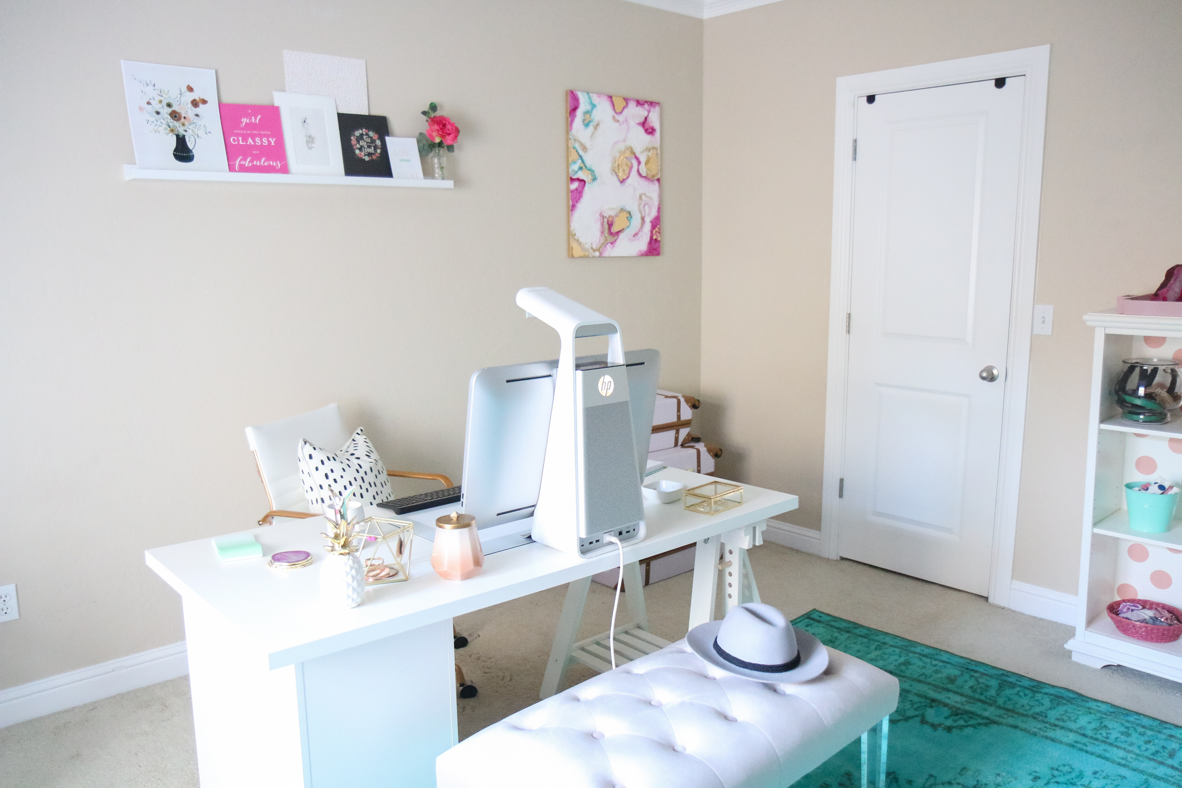 Pink and Teal Home Office Tour