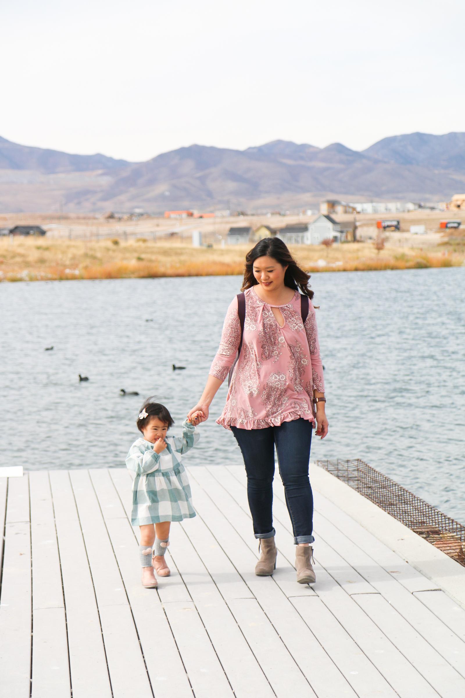 Mom and daughter at Daybreak Lake