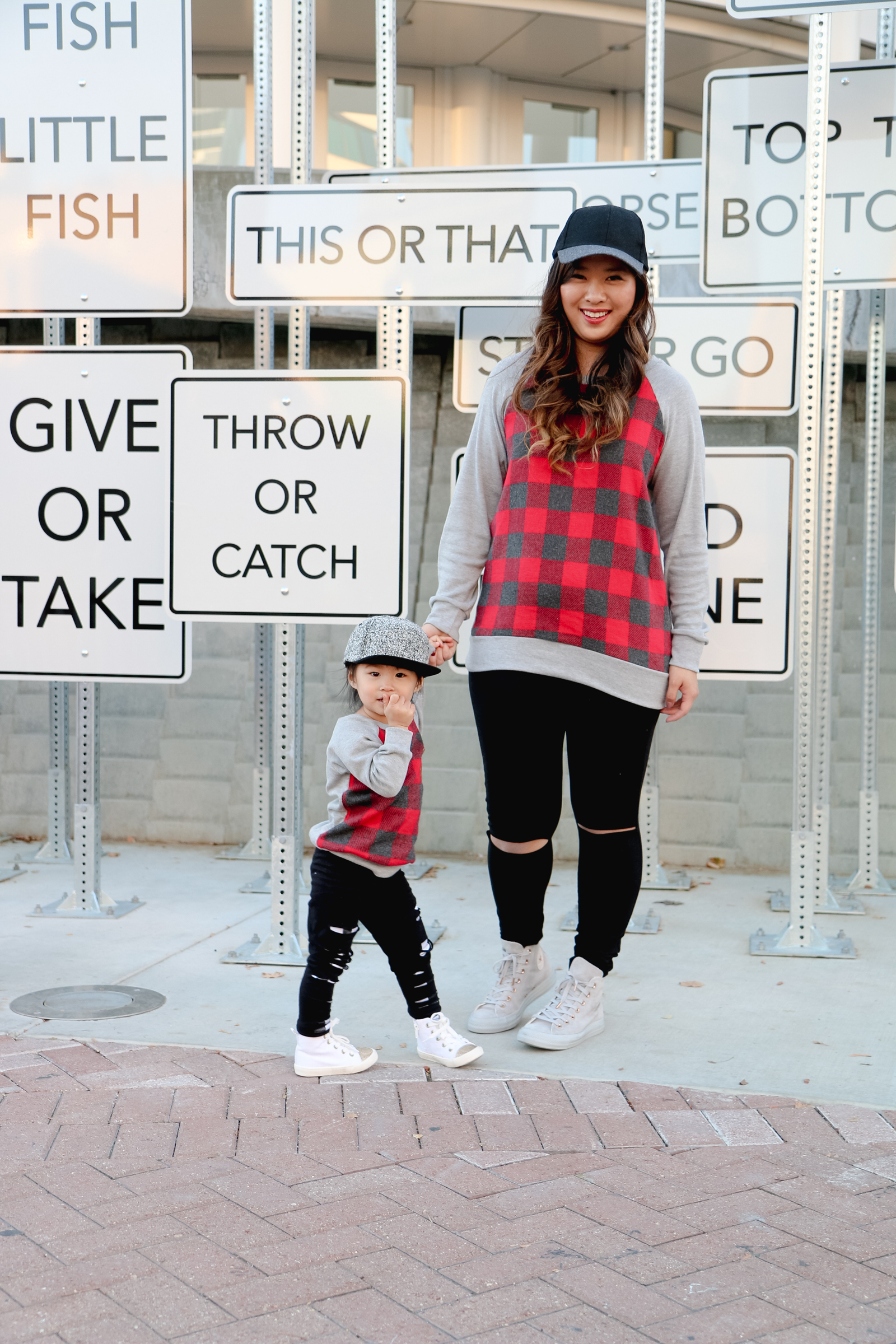 Mommy and Me Casual Style: Buffalo Plaid, Ripped Pants and Hi Tops