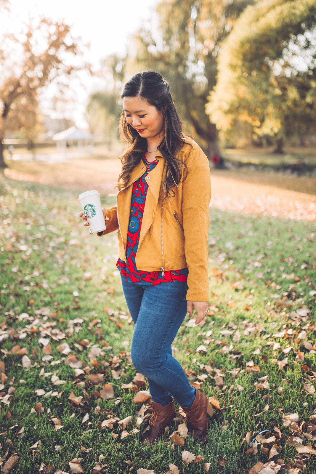 Floral and Suede Jacket