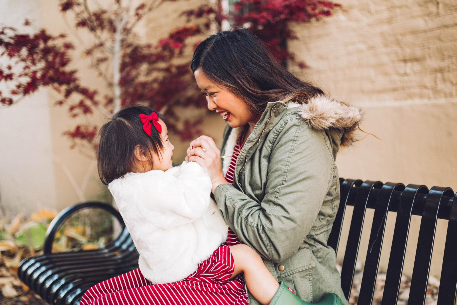 Mommy and Me Outfits by Sandy A La Mode: Striped Dresses & Cold Weather Outerwear