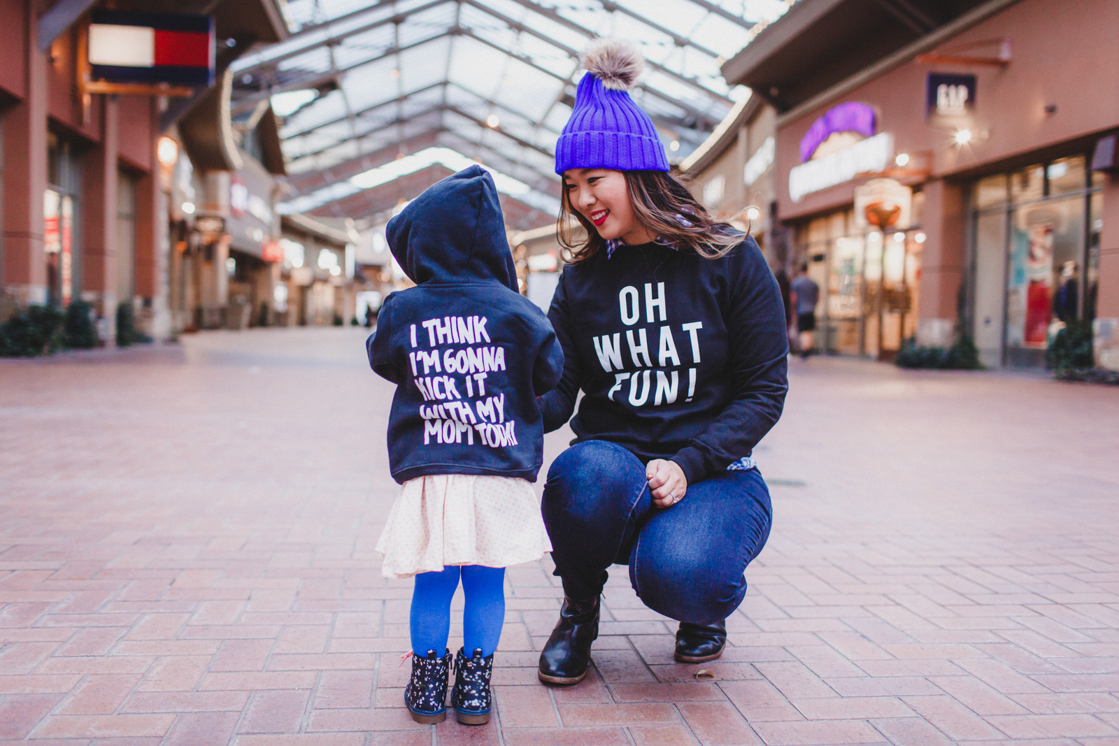 Mommy and Me Outfits: Graphic Sweatshirts by fashion blogger Sandy A La Mode