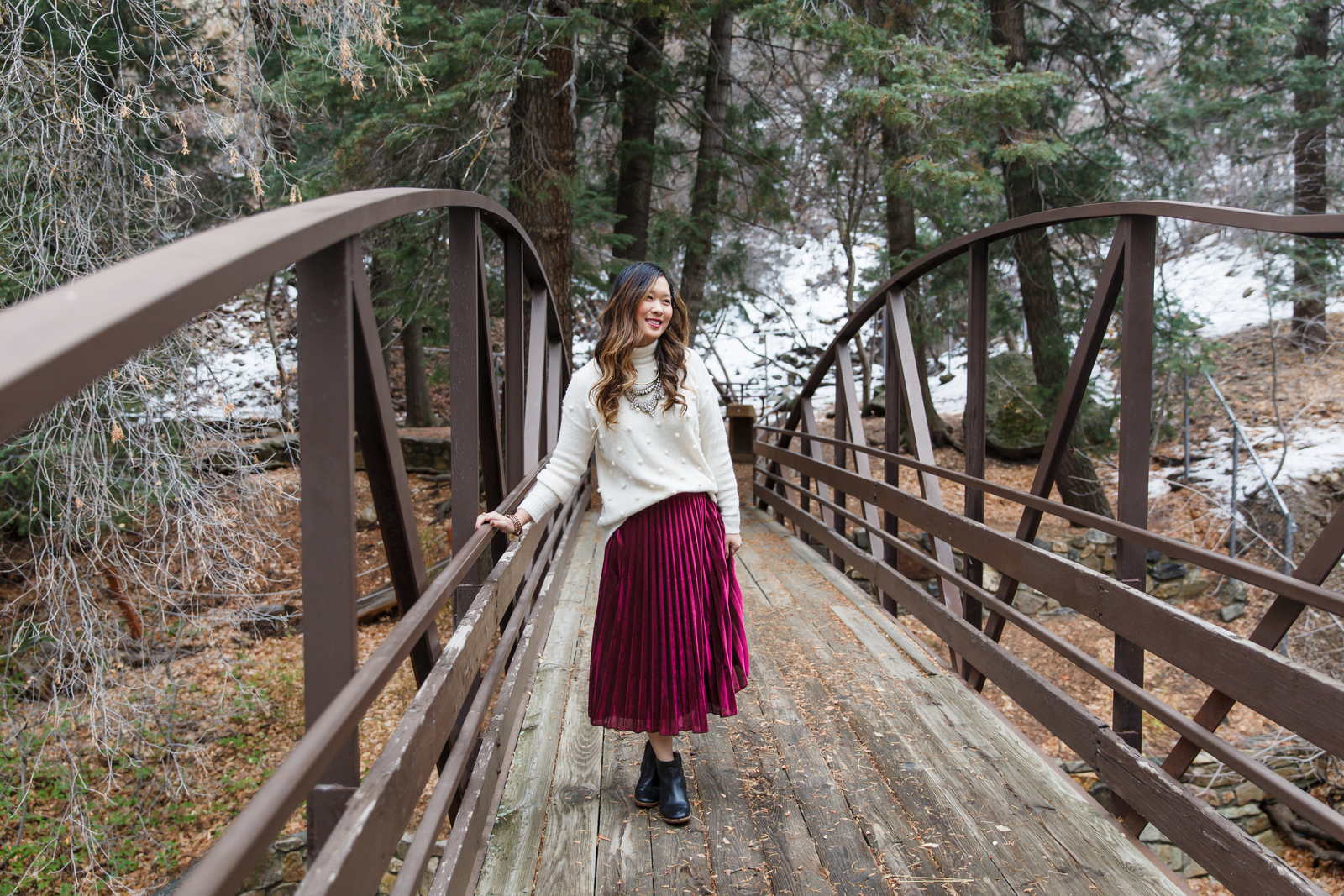 Oversized Sweater and Metallic Skirt