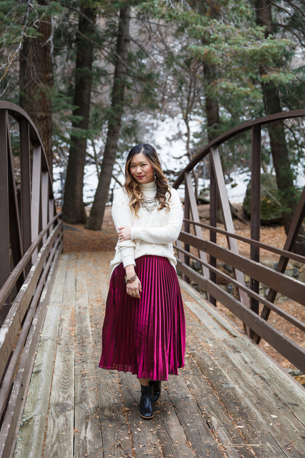 Pom pom sweater and metallic skirt