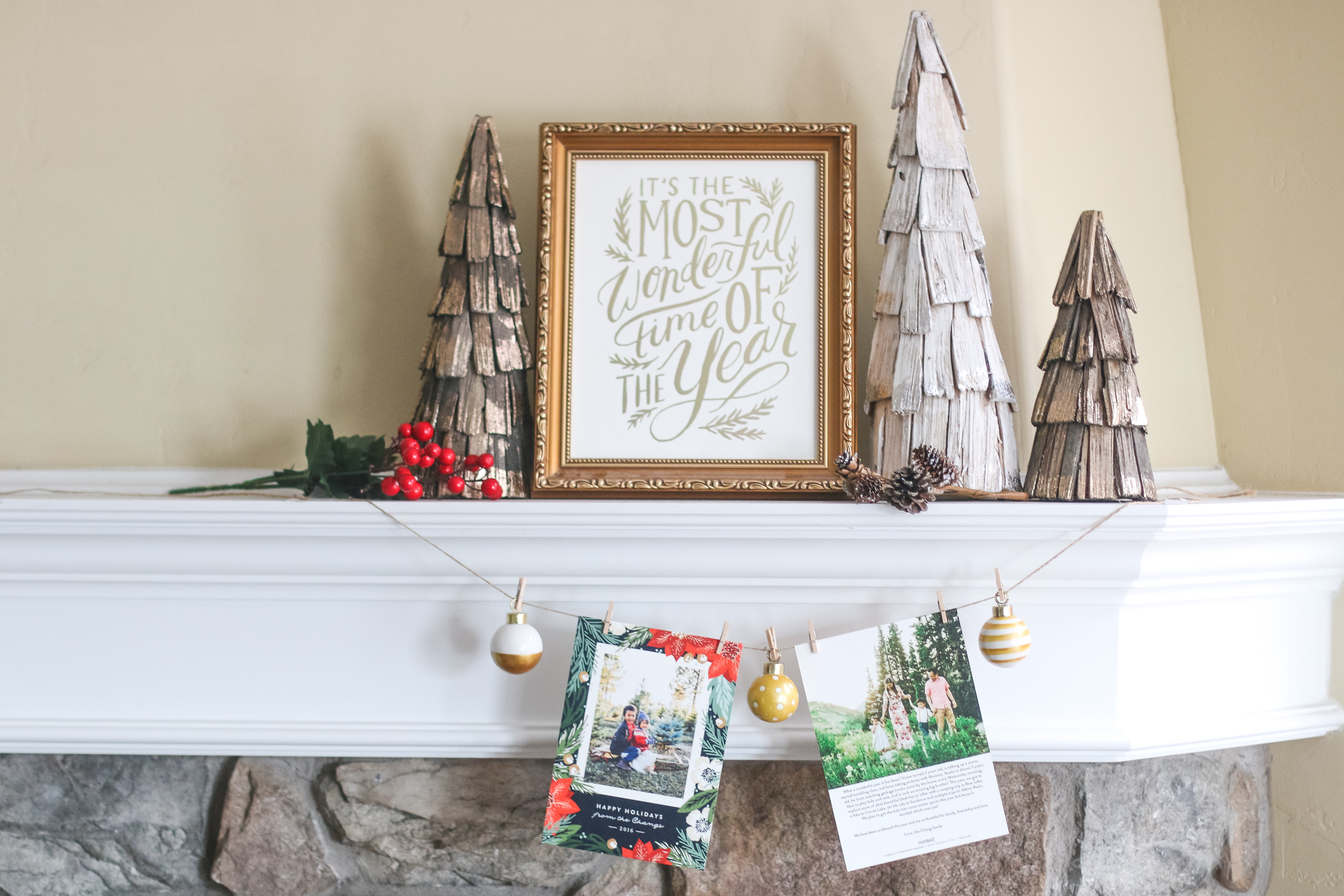 Holiday Card Mantel Display Idea