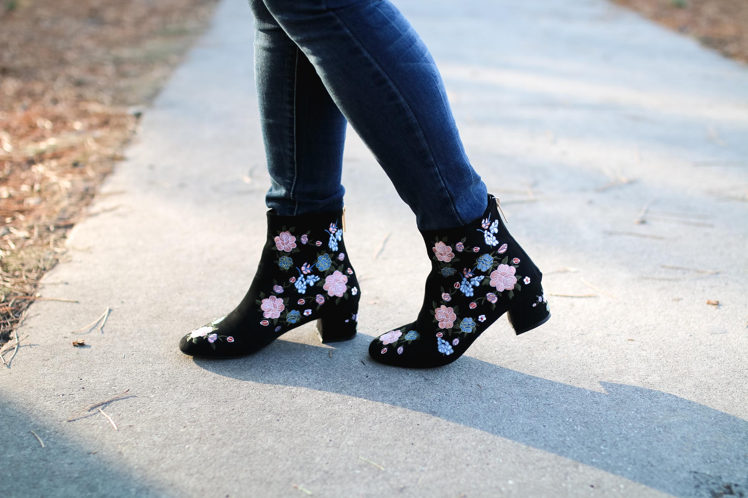 Topshop Floral Booties